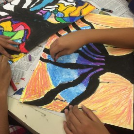 using oil pastels